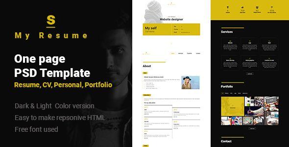 S - Resume, Cv, Portfolio One Page PSD Template Website-Templates