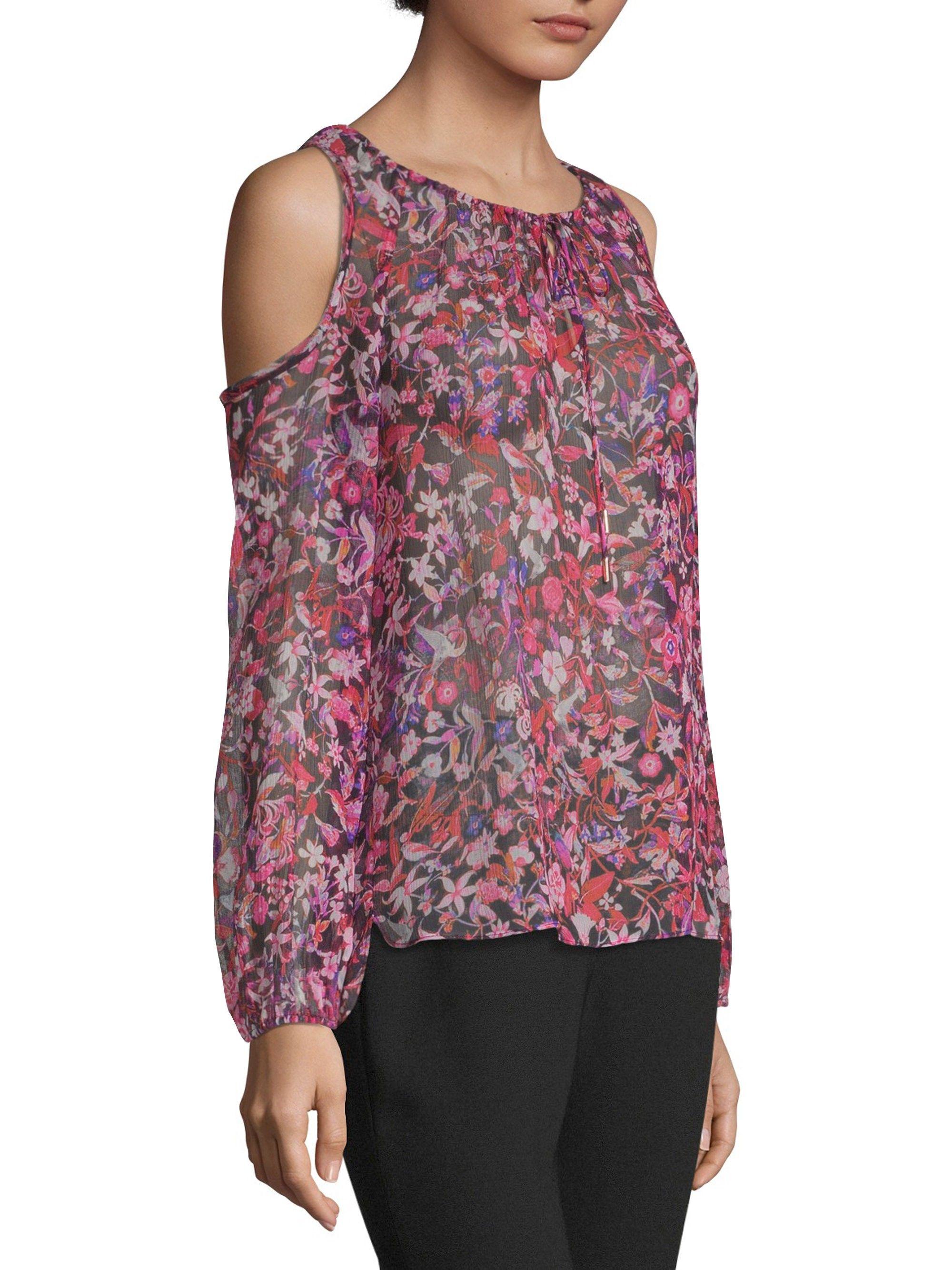 5654816fef5239 Elie Tahari Cathy Cold-Shoulder Silk Blouse - Bright Petun X-Large