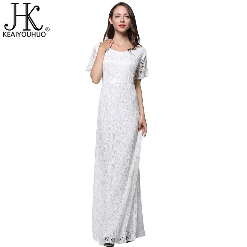 53258b1ae4e Women Dress 2017 New White Summer Dress Fashion Short Sleeve Lace Plus Size  9XL Dress Sexy Party Maxi Dresses For Women Vestidos