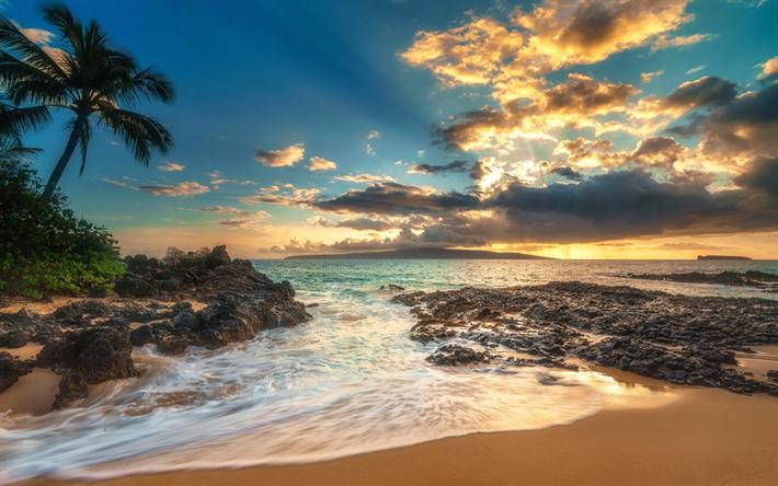 Download Wallpapers Makena Cove Maui Hawaii Sunset Pacific Ocean Coast Islands Usa Besthqwallpapers Com Island Wallpaper Maui Sunset Beach Pictures