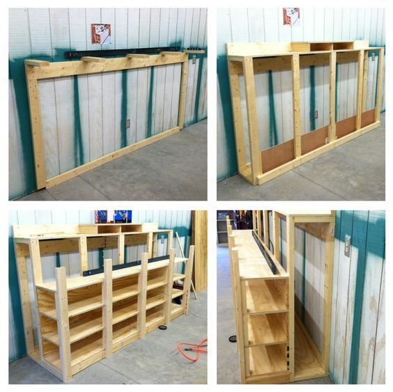 Using A Repin From Anna Powlus As A Template This Combination 8 1 2 Foot Workbench Wood Storage Will Hav Lumber Storage Woodworking Shop Layout Wood Storage