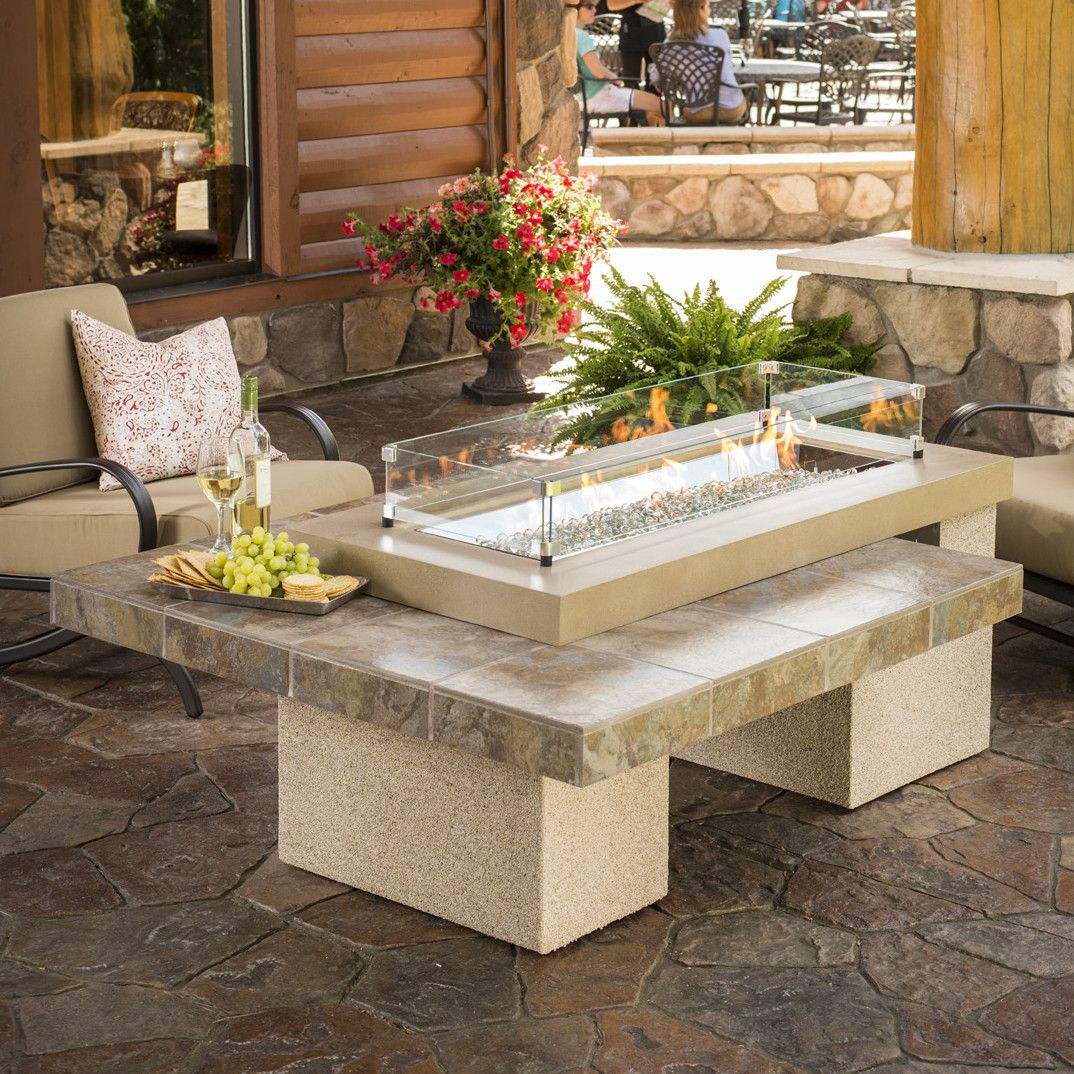 The Outdoor GreatRoom Company Uptown Crystal Fire Pit Table With Tile Top  And Burner