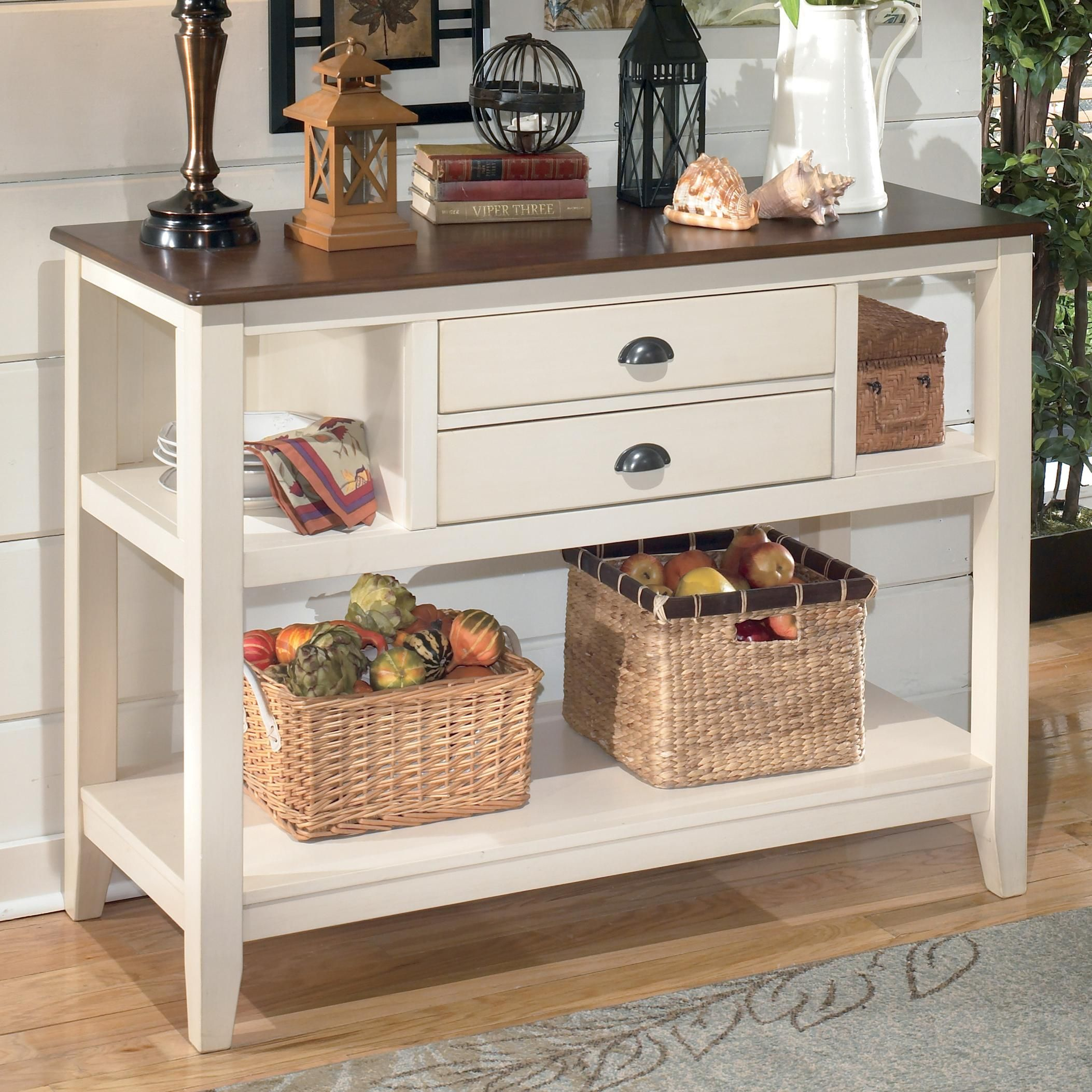 Great Description   Dimensions   More Info Ashley Furniture Whitesburg Dining  Room Server With The Warm Two Tone Look Of The Cottage White And Burnished  Brown ...