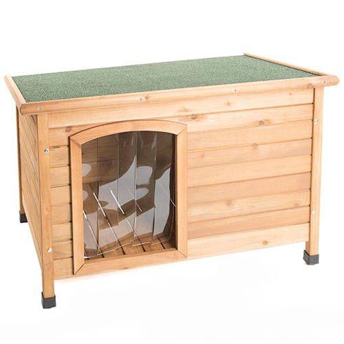 Caseta de madera para perros tk pet country con puerta for Puerta para perros