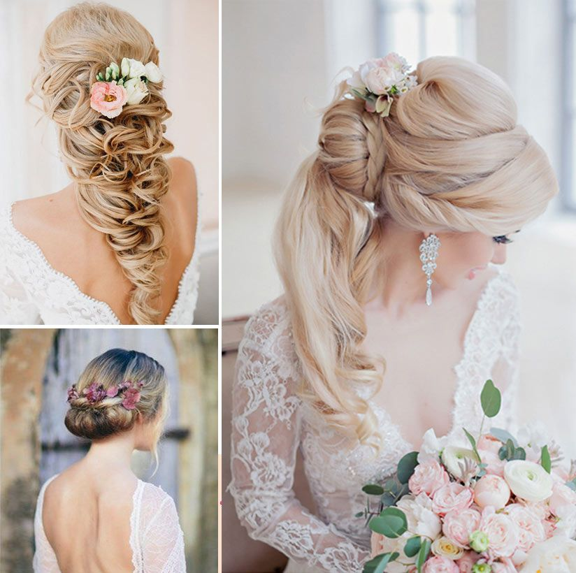 bridal hairdo with natural flowers