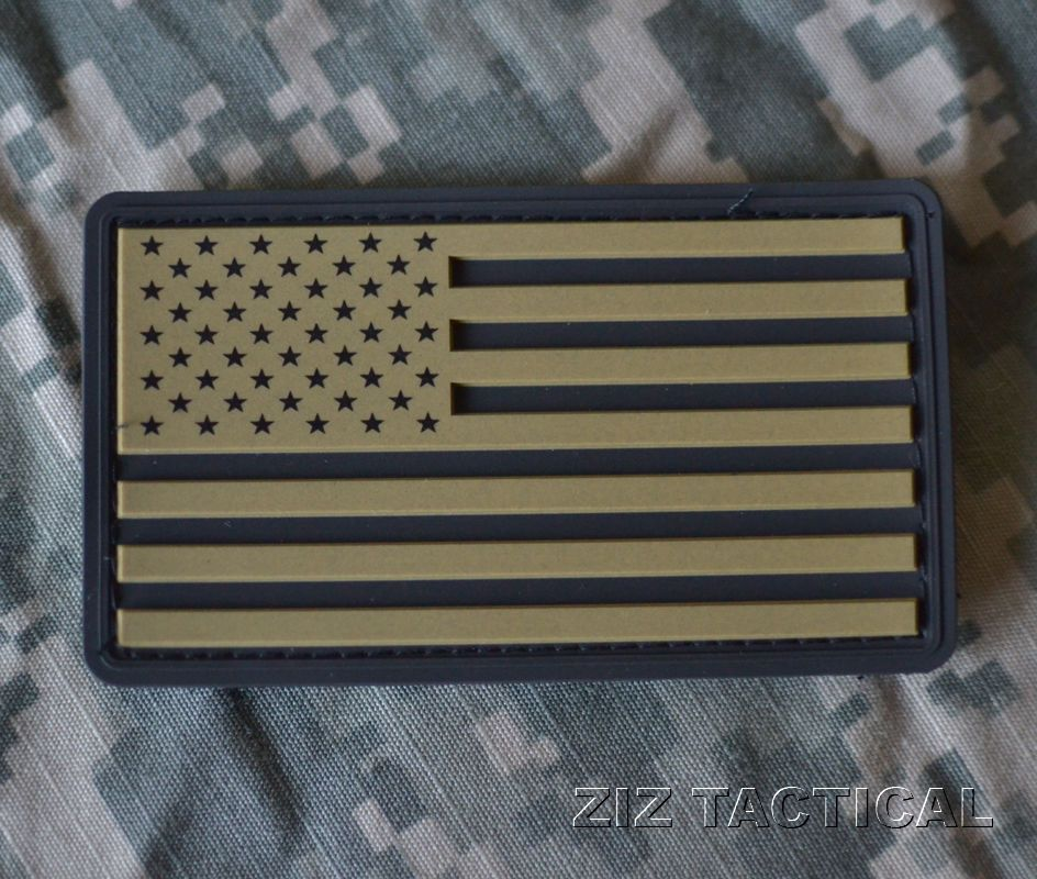 USA PVC Military American Flag Patch with Hook Velcro Backing KHAKI BLACK  Big Seller. Great patch for all weather wear. Put it on your kit 7a7cdc6aa04