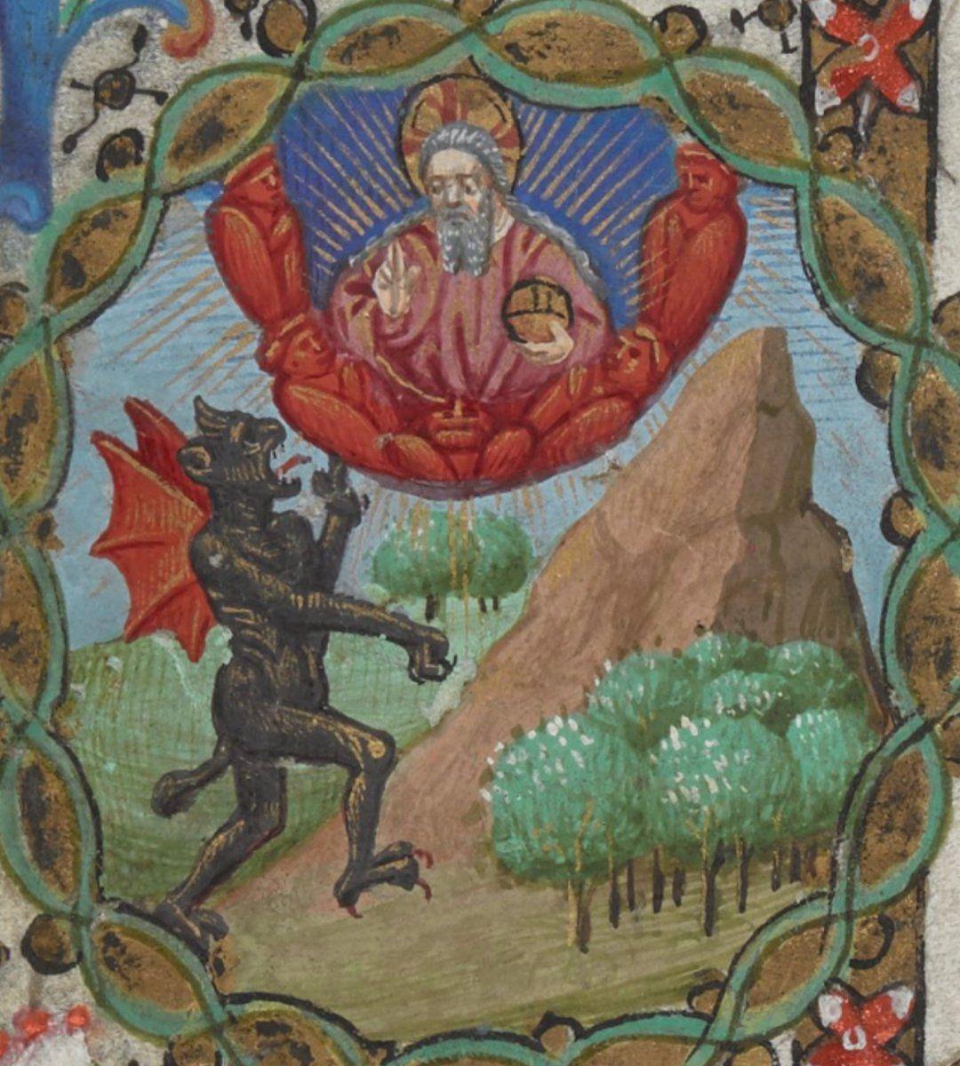 The Devil arguing with God BL, Egerton 2019, 15th c ...