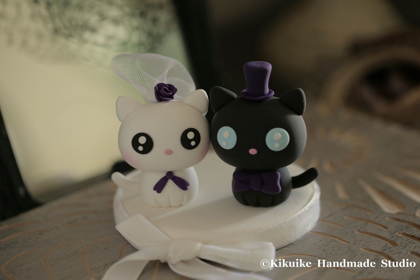bride and groom cat and kitty Wedding Cake Topper (With