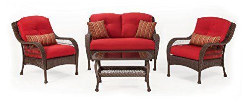 La-Z-Boy Outdoor Bristol Resin Wicker Patio Furniture Conversation Set  (Scarlet Red - La-Z-Boy Outdoor Bristol Resin Wicker Patio Furniture Conversation