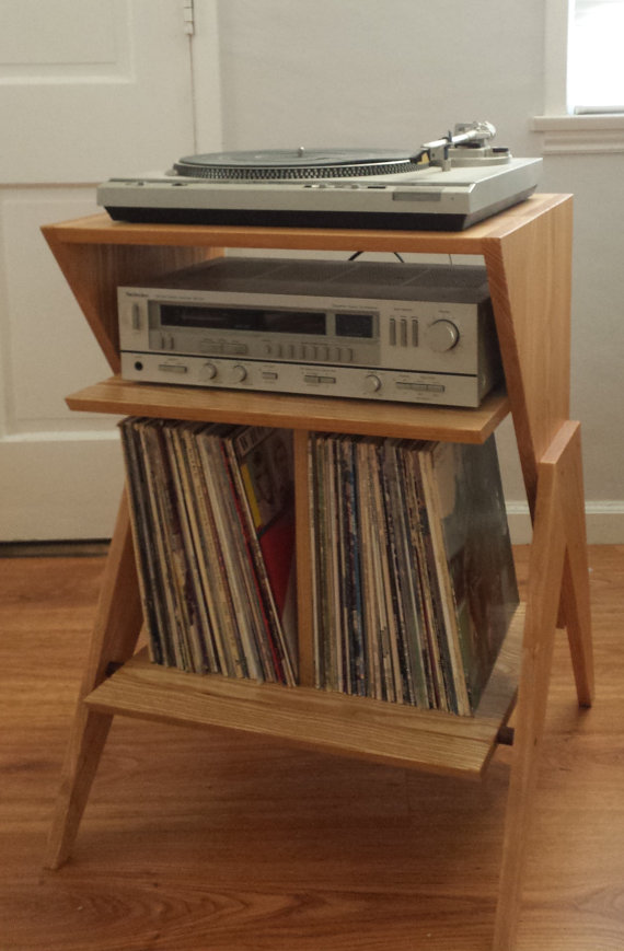 Solid Ash Wood Record Player Stand Vinyl Lp Storage Cabinet In