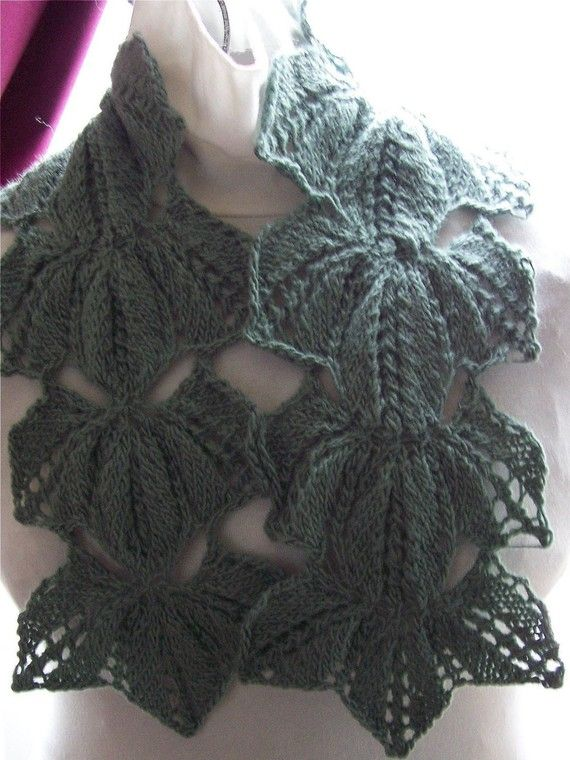 Instant Download pdf Hand Knitting Pattern - EverGreen Scarf ...