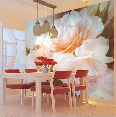 Classic Design Large Pink Floral Peony Wall Mural Home or