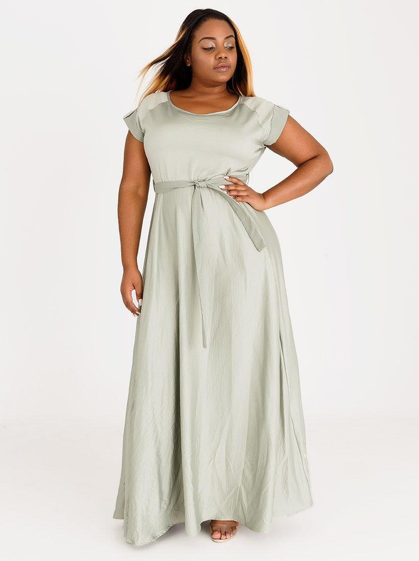 93ffb7e6ab6 AMANDA LAIRD CHERRY Katya Satin-like Maxi Dress Mid Green