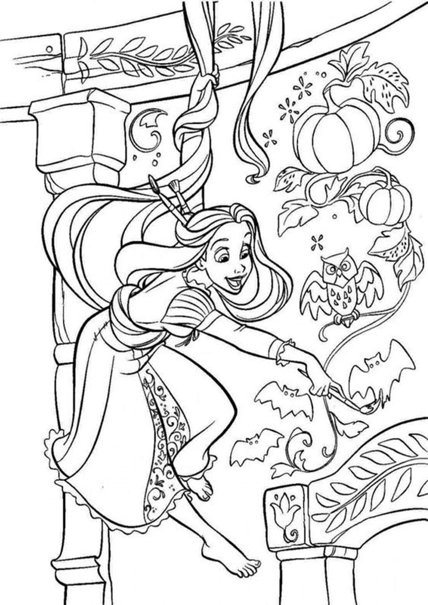 Free Easy To Print Tangled Coloring Pages Tangled Coloring Pages Rapunzel Coloring Pages Halloween Coloring Pages