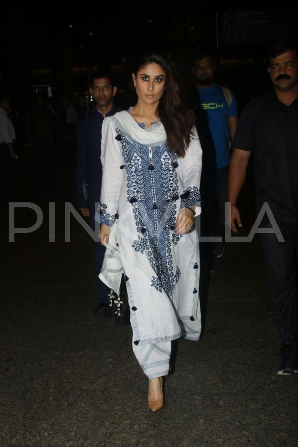 baa30a3e7ac PHOTOS  Kareena Kapoor Khan returns to Mumbai  looks stunning in her white  suit