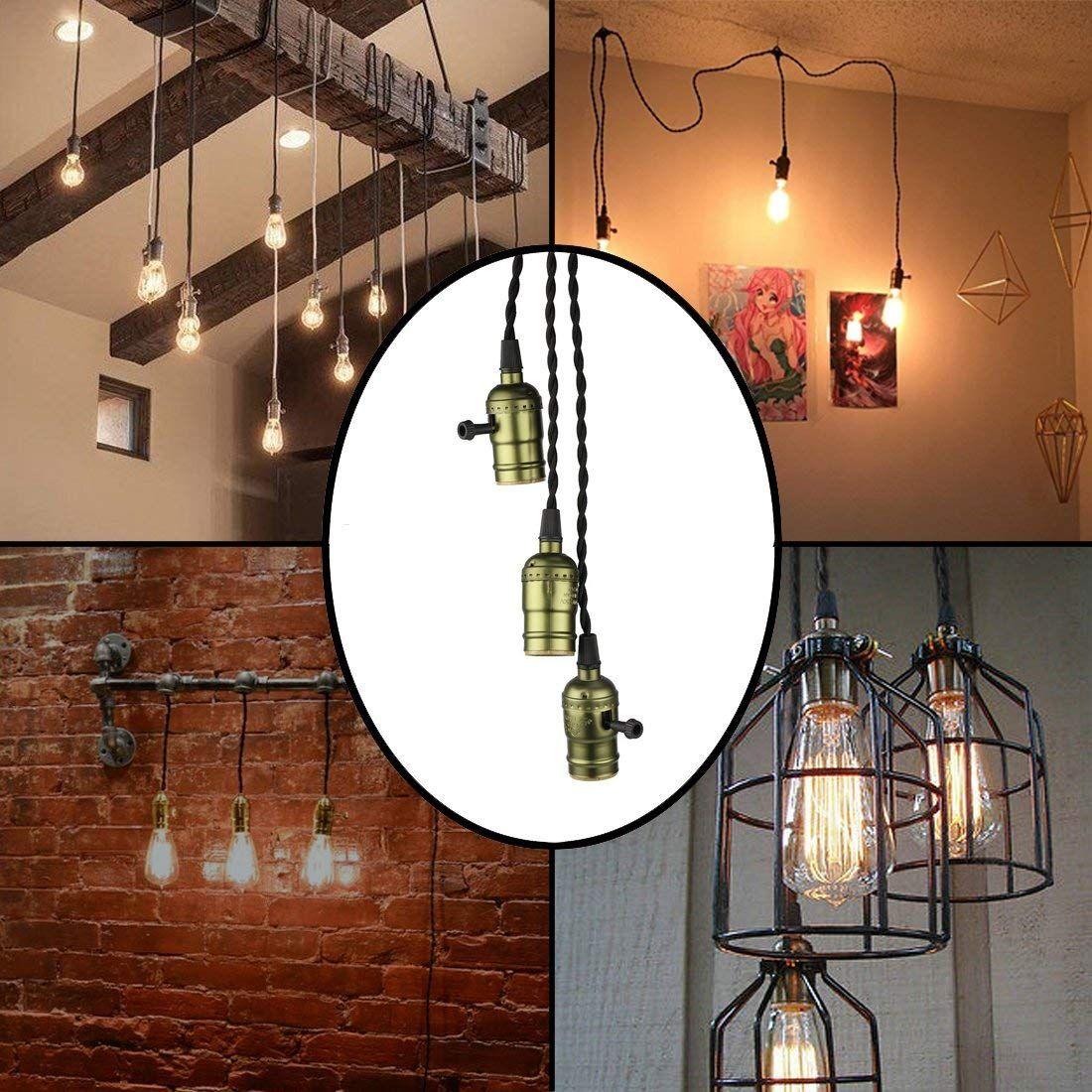 Vintage Triple Light Sockets Pendant Hanging Light Cord Kit Plug