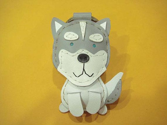 Etana the Siberian Husky leather keychain Grey by leatherprince, $21.90