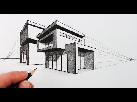 How to draw a house in two point perspective modern house - Dibujos de casas modernas ...