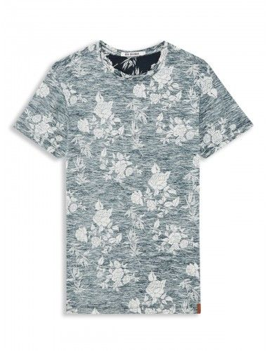 Navy Rose Print T-Shirt