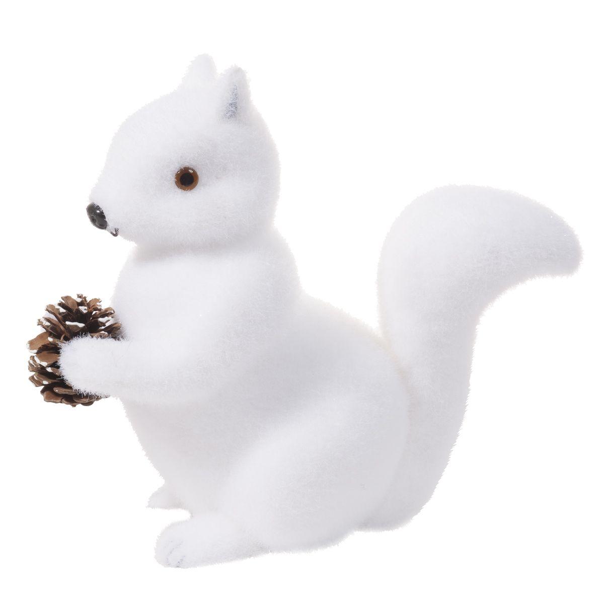 Scoiattolo bianco in poliresina da tavolo H 22 cm NOISETTE
