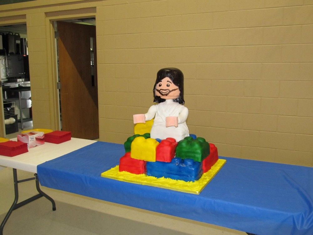 Lego Jesus cake for our churchs Lego party for the kids.  All of it is edible.