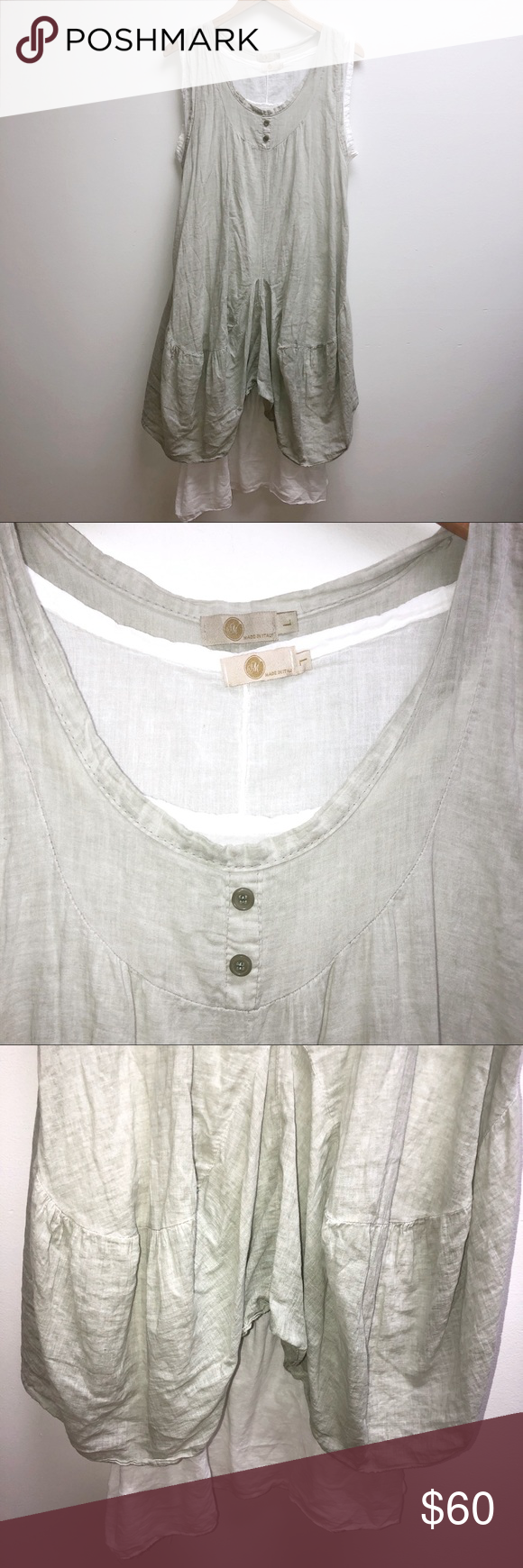m made in Italy Linen Dress Large sage green m made in Italy Linen Dress Large sage green retail $175 m-made in italy Dresses #sagegreendress