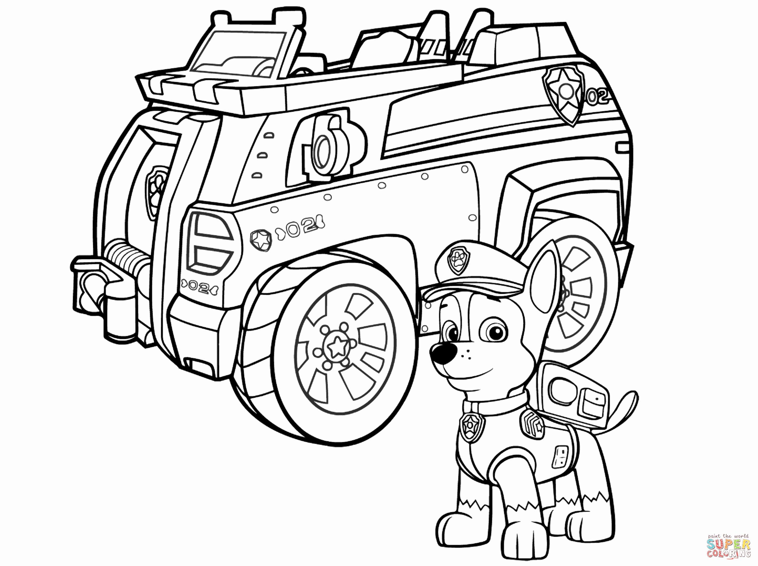 Police Car Coloring Pages Awesome Paw Patrol Chase Police Car Coloring Page Paw Patrol Coloring Pages Paw Patrol Coloring Truck Coloring Pages