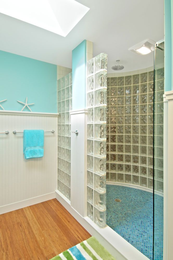 open walk in shower design using glass blocks in conjunction with dave fox remodeling