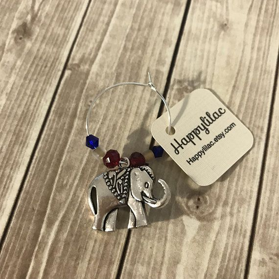 Elephant Wine Charm 1 Decor Party Favor Glass Lover Birthday Gift