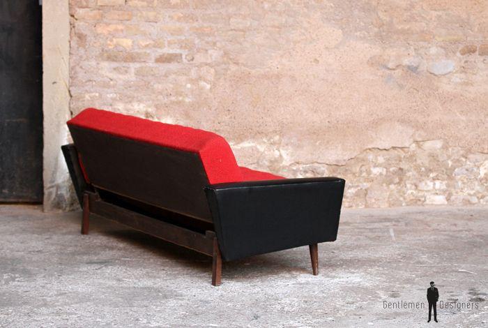 Canapé Vintage Places Convertible Tissu Rouge Et Skai Noir - Canapé fabrication francaise tissu
