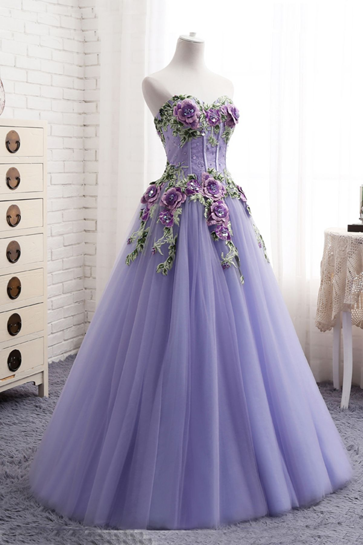 Sweetheart lavender tulle long 3D flower evening dress, senior prom ...