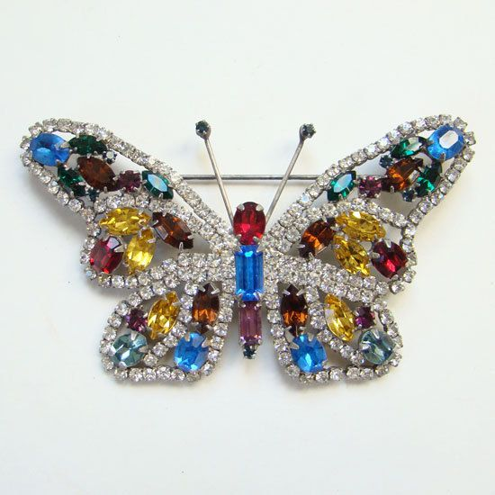 Multicolor Rhinestone Figural Butterfly Brooch Pin Silvertone Setting Red Yellow Blue Green Large Vintage Old by redroselady on Etsy