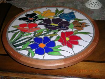 Tornamesa mosaico tornamesa mosaico madera de rauli for Mosaico madera pared