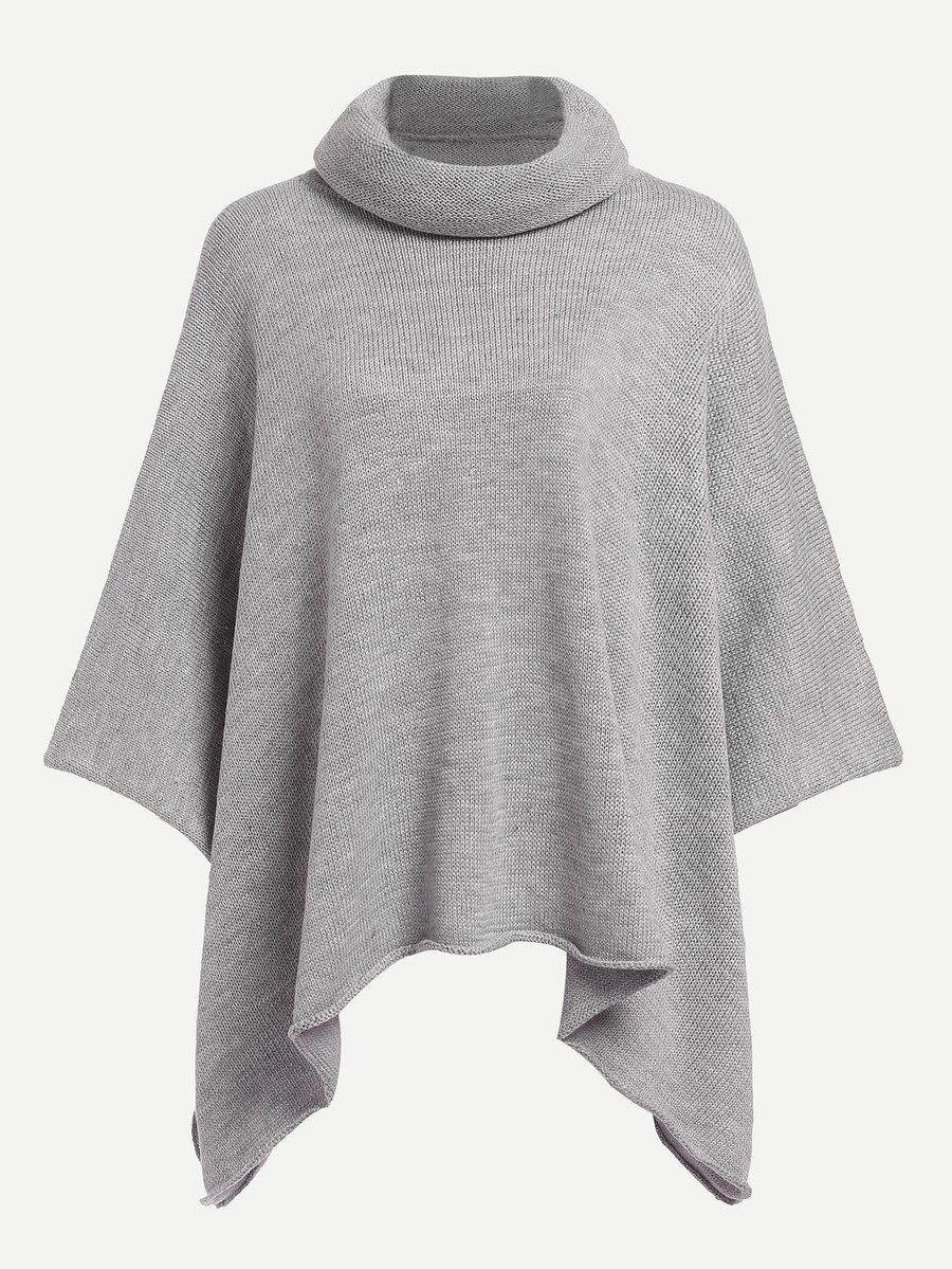 596a9e9ec84d Rolled Neck Solid Poncho Sweater -SheIn(Sheinside)