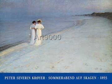Peter Severin Krøyer - Summer Evening at Skagen (120,0 x 90,0 cm)