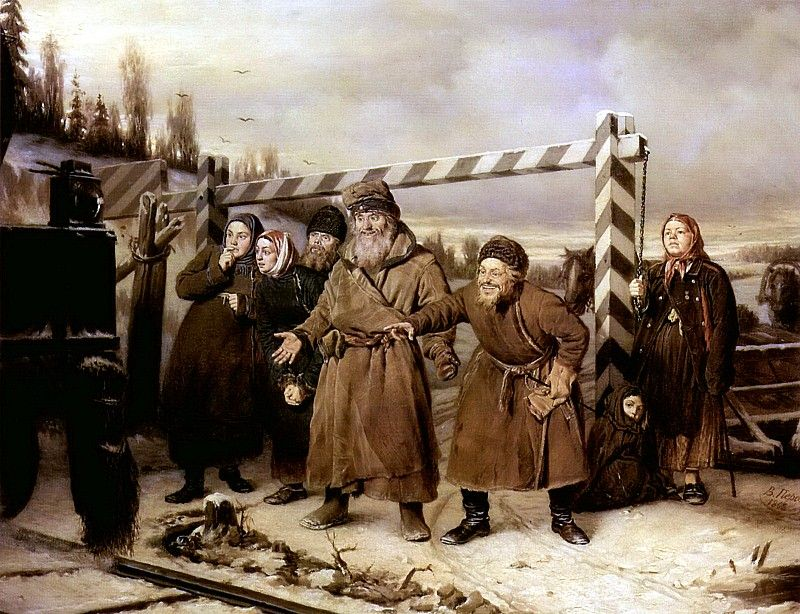 1868 | perov | На железной дороге. 1868 Х. , м. 52х66 ГТГ. Василий Григорьевич Перов