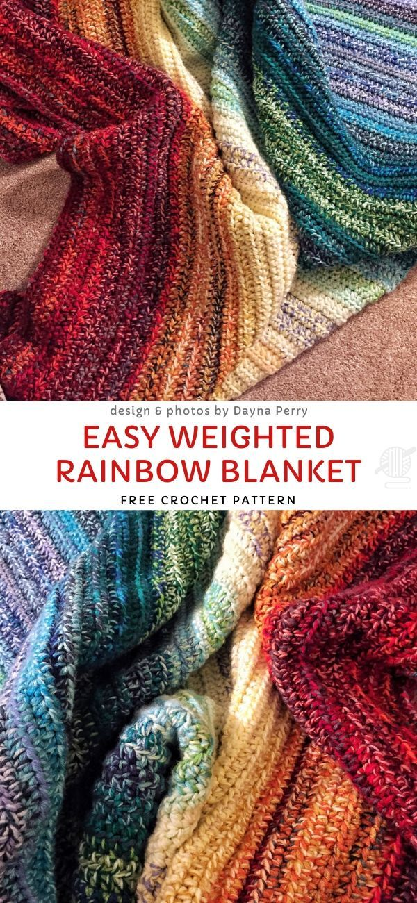 Easy Weighted Rainbow Blanket Free Crochet Pattern