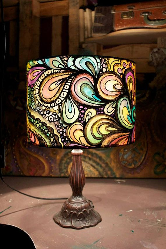 Custom Made For You Multi Coloured Psychedelic Design Hand Silk Painted Lampshade 20cm 30cm Or 40cm Diameter Drum Painting Lamp Shades Painting Lamps Modern Lamp Shades