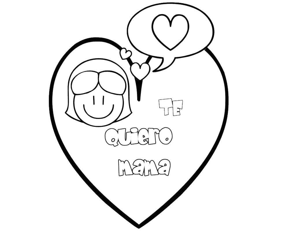 Dibujo De Un Corazon Te Quiero Mamá Para Pintar Frases Y