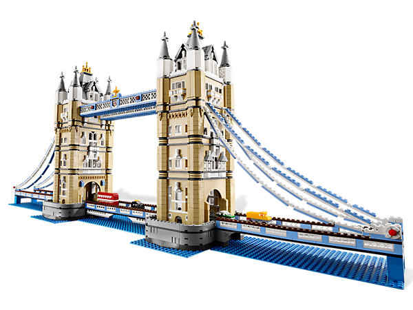 Tower Bridge   Designed with advanced building techniques and rare colors and elements, the Tower Bridge is complete with its iconic paired towers and a drawbridge that really opens. Fun to build and display, it locks together solidly but can be taken apart in sections for easy transport. Includes 4 miniature vehicles; a black London taxi, a traditional red double-decker bus, a yellow truck and a green automobile.