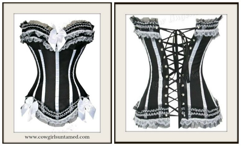 db25c3b6bd CORSET SALE!! LAST ONE~3X! Wild West Black Satin and White Lace with Lace Up  Back Plus Size Corset  plussize  corset  bustier  black  satin  white  lace  ...