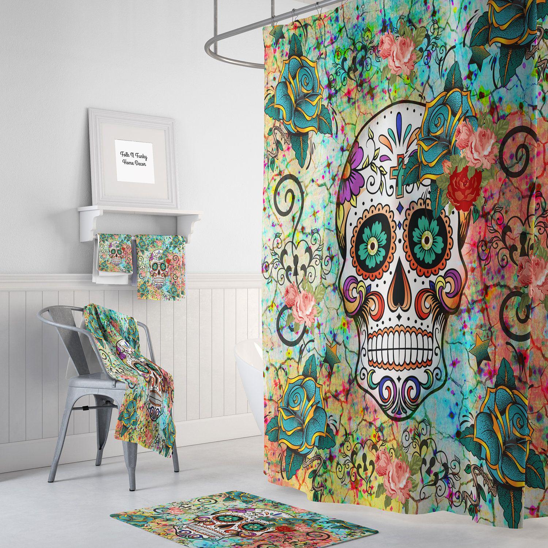 Abstract Skull Shower Curtain Sugar Skull Bathroom Set Optional Bath Mat Bath Towels Hand Towels Sugar Skull Shower Curtain Skull Shower Curtain Cool Curtains