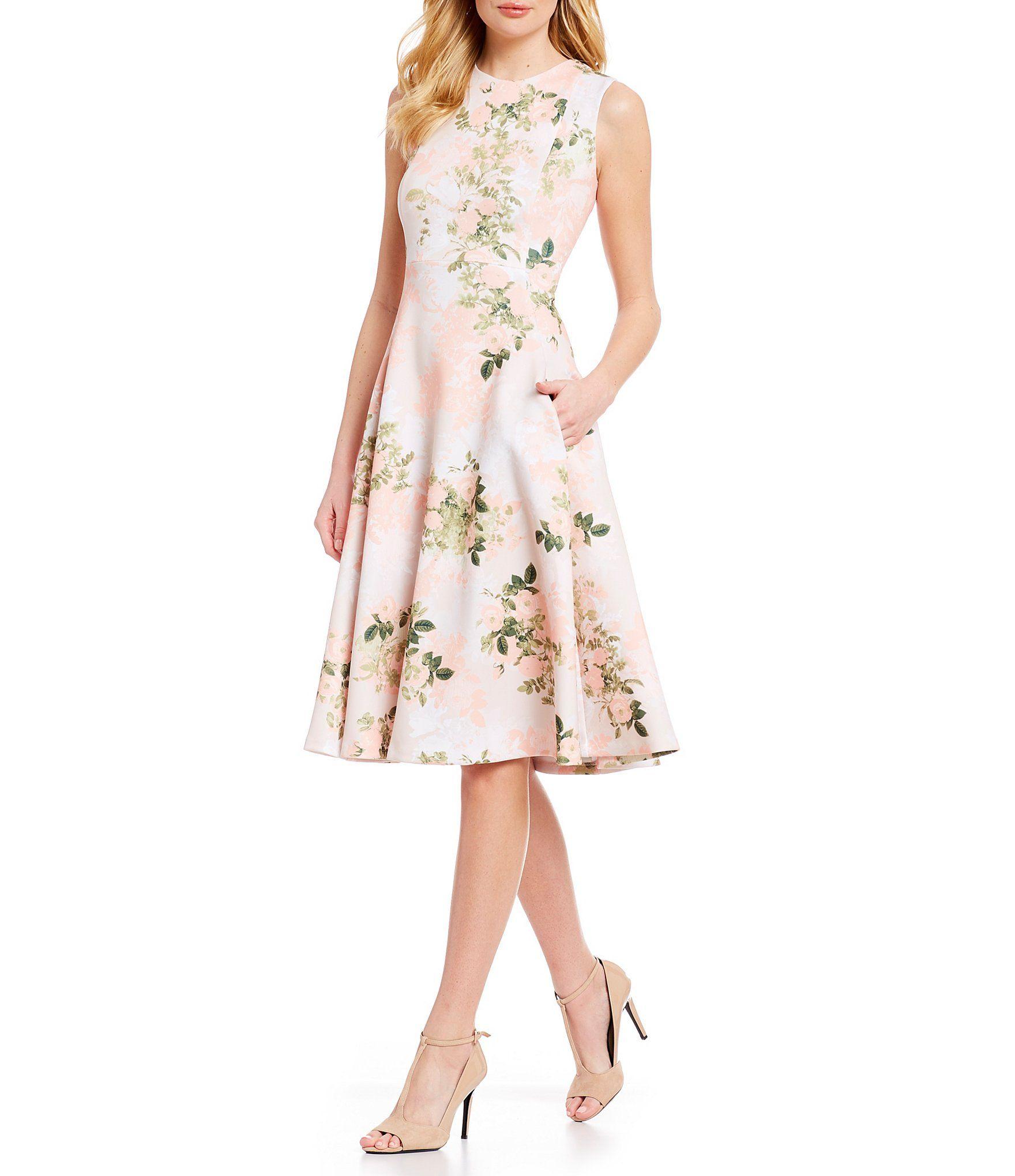 Calvin Klein Floral Print Fit Flare Sleeveless Midi Dress Dillards Printed Halter Dress Womens Dresses Fit Flare Dress [ 2040 x 1760 Pixel ]