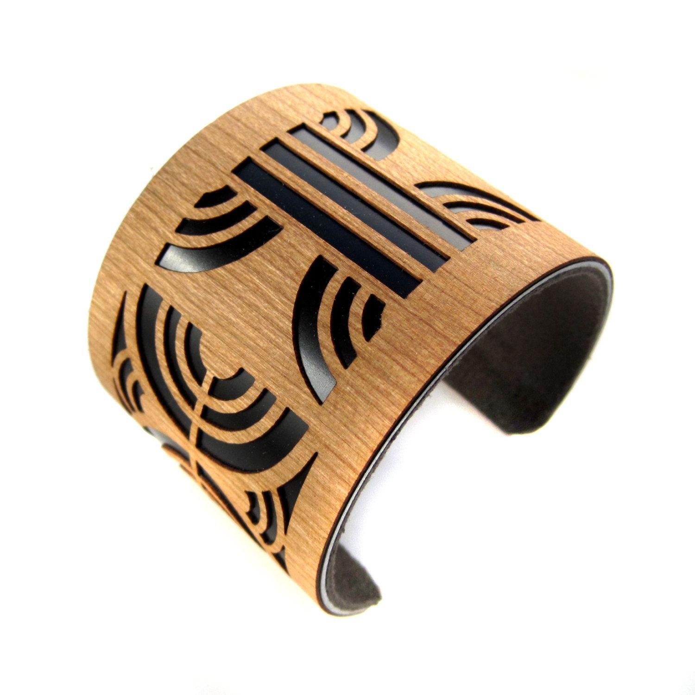 Path Laser Cut Wood Cuff Bracelet Art Deco Black. $65.00, via Etsy.