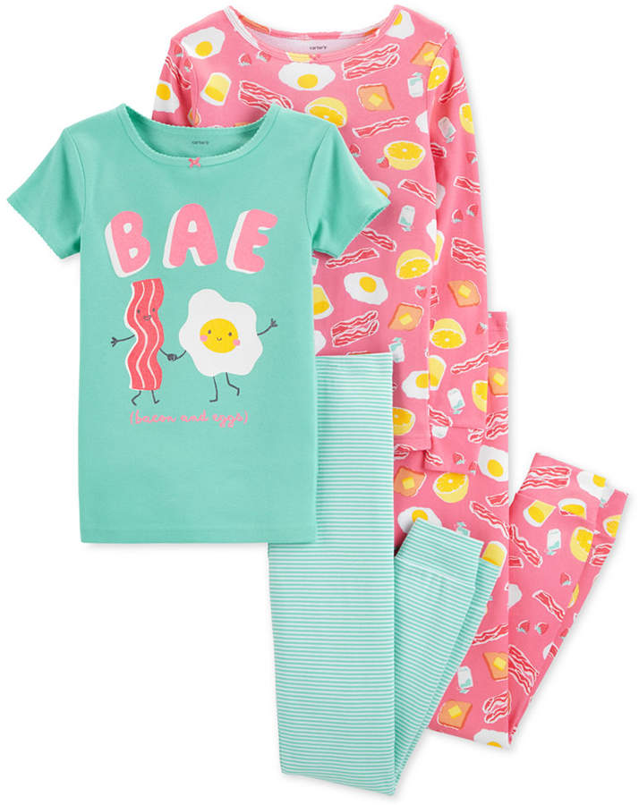 e0bef4d30 Carter s Little   Big Girls 4-Pc. Breakfast Snug Fit Cotton PJs Set ...