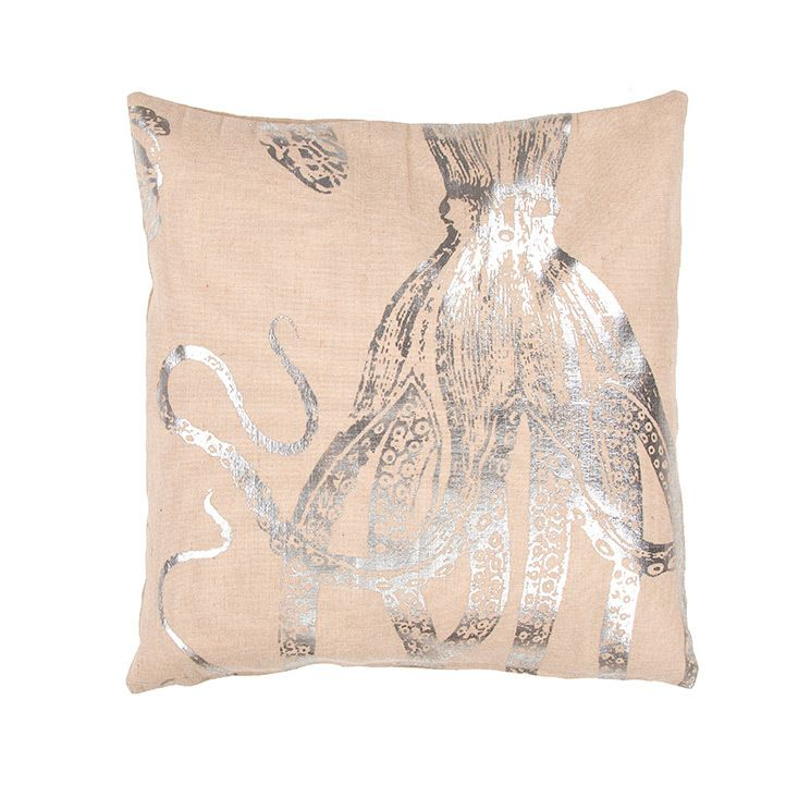 Silver Mysterious Octopus Burlap Beach Cottage Pillow- We love this natural seaside style feel with just a touch of glam with silver coastal accents!