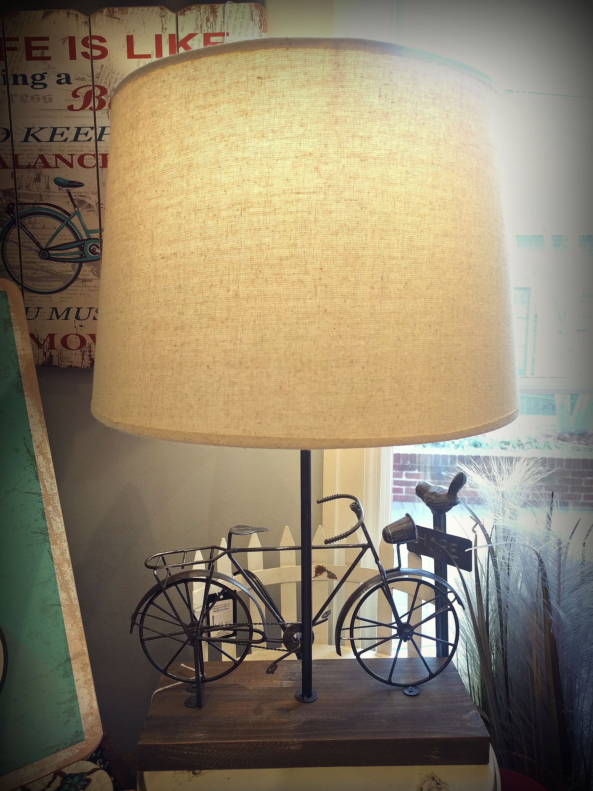 Bicycle lamp home décor. Mulberry Mill ~ Branson, MO #mulberrymill ...