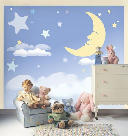 Moon And Stars Wall Murals Stickers For Baby Boy Nursery Bedroom