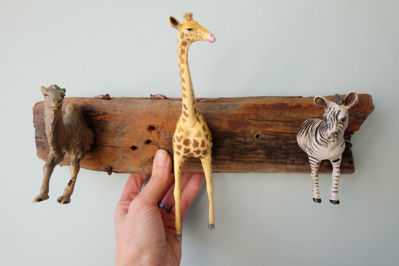 Driftwood Coat Hooks Modern Wall Hooks Jungle Animals Childrens Kids Rustic Wooden Hooks Wall Organizer Modern Wall Hooks Rustic Coat Rack Upcycle Jewelry Box