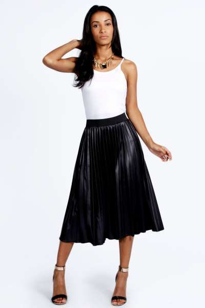 1829ffcf6 Annabelle Pleated Wet Look Midi Skirt at boohoo.com | December Haul ...